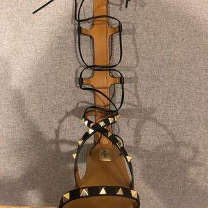 Valentino Shoes - VALENTINO Leather Rockstud Gladiator Flat Sandals